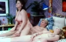 Vintage threesome with huge tit chicks